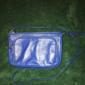 Fossil Crossbody Cobalt Blue Pebbled leather purse